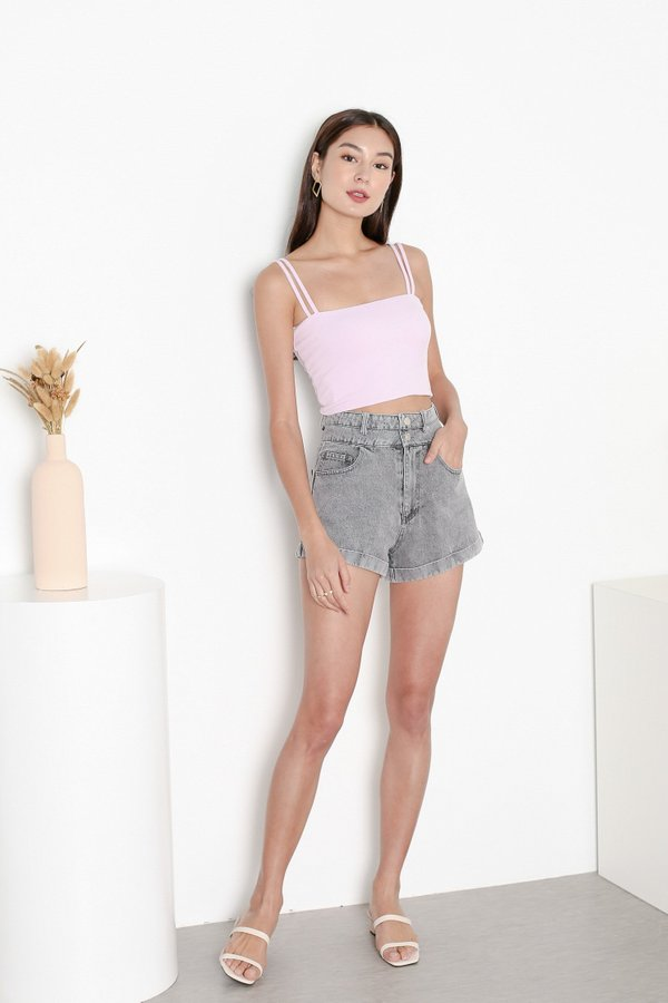 *TPZ* EXTRA HIGH WAISTED DENIM SHORTS IN VINTAGE GREY