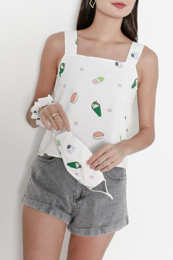 *TPZ* SUSHI REVERSIBLE TOP COLLECTIBLE SET *WITH MASK AND SCRUNCHIE*