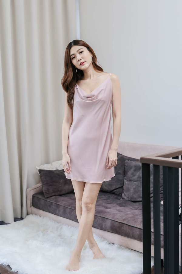 SATIN COWL NECK SLEEP GOWN IN DUSTY PINK