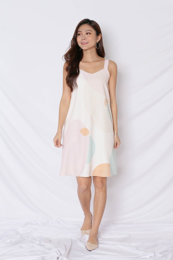 (PREMIUM) THE GEOMETRIC COLLECTION 2 WAY TRAPEZE DRESS (VERSION 1) EARTH