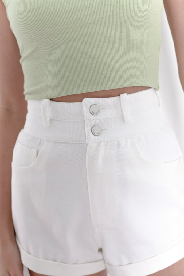 *TPZ* EXTRA HIGH WAISTED DENIM SHORTS IN WHITE