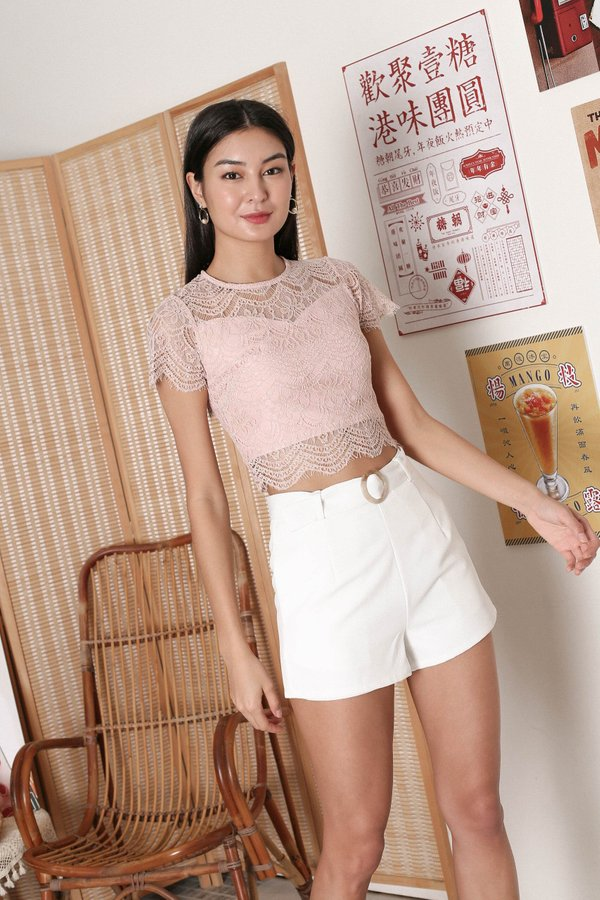 *TPZ* QUEZA LACE TOP IN DUSTY PINK