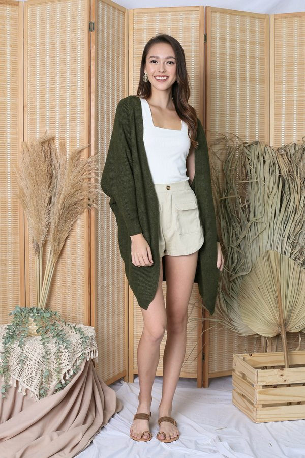 BEA COSY SOFT KNIT CARDIGAN IN OLIVE