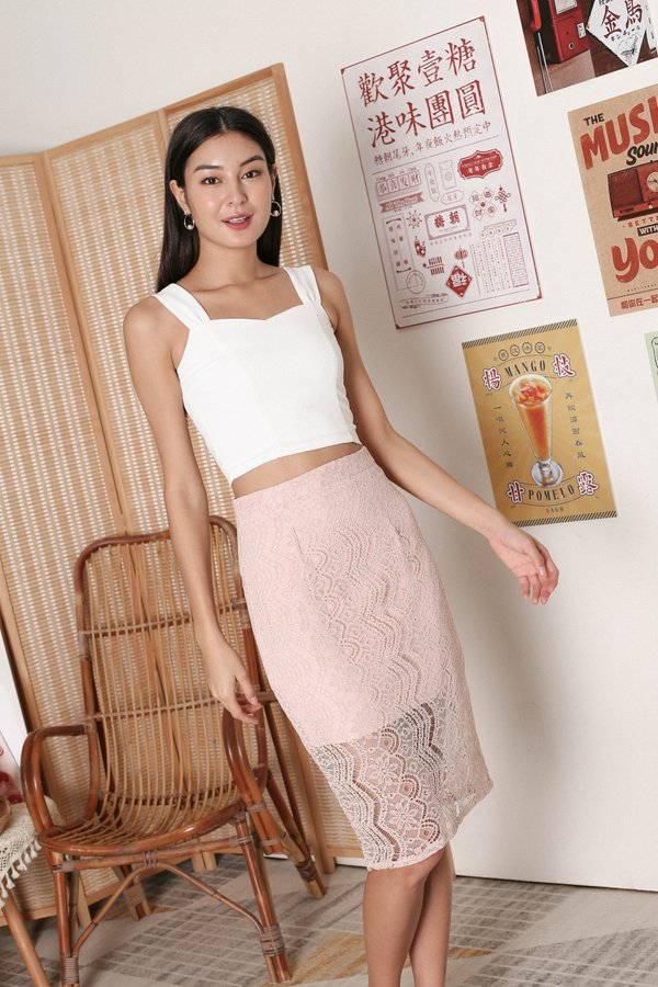 *TPZ* QUEZA LACE SKIRT IN DUSTY PINK