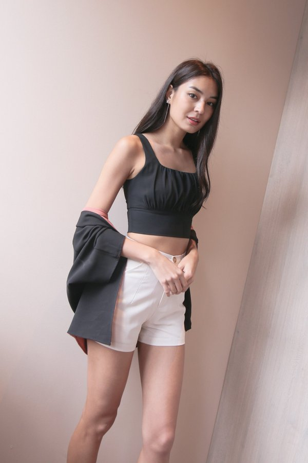 *TPZ* GISELLE RUCHED TOP IN BLACK