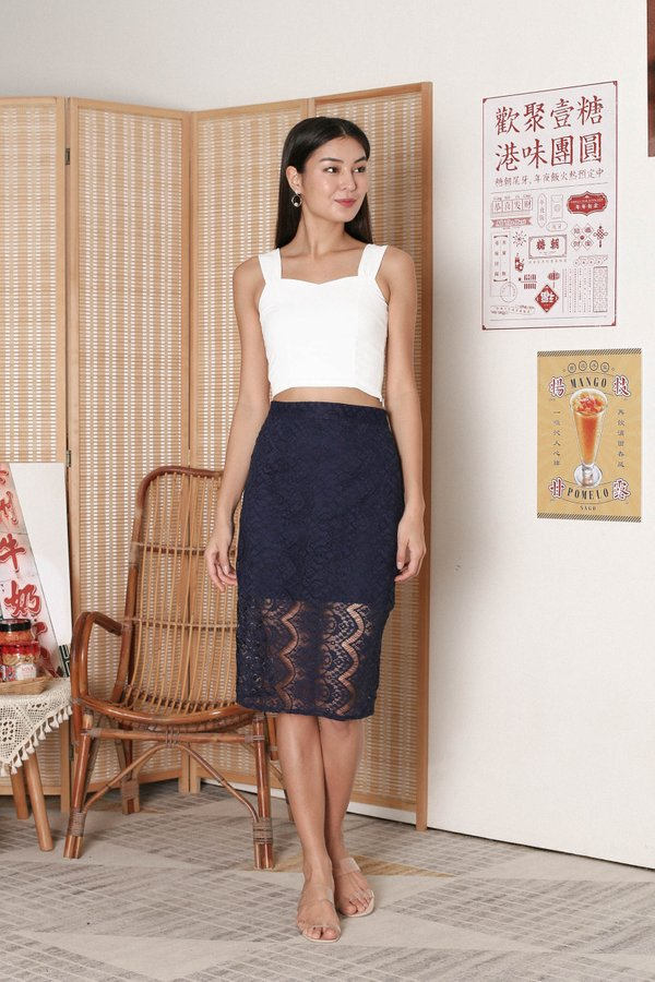 *TPZ* QUEZA LACE SKIRT IN NAVY