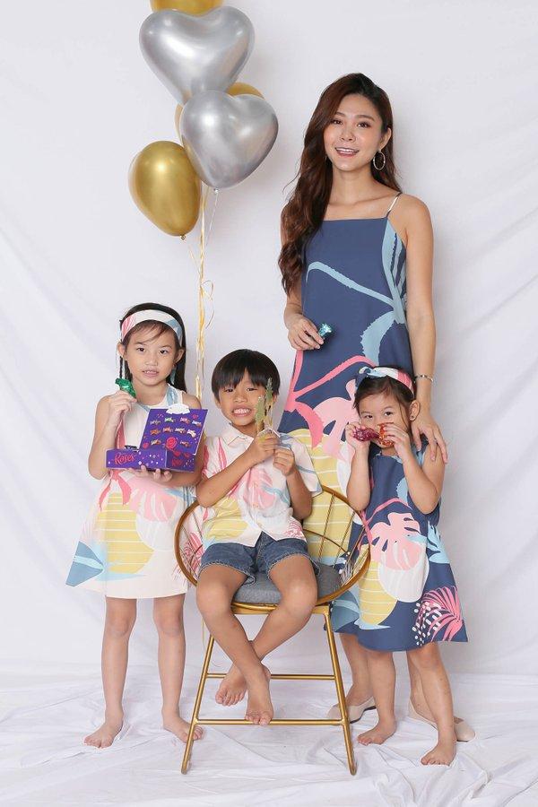 (PREMIUM) ALOHA SHIFT DRESS WITH SLIT IN NAVY