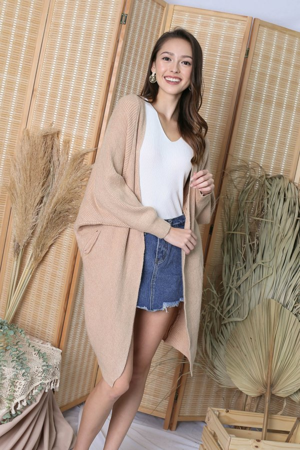 BEA COSY SOFT KNIT CARDIGAN IN OATMEAL