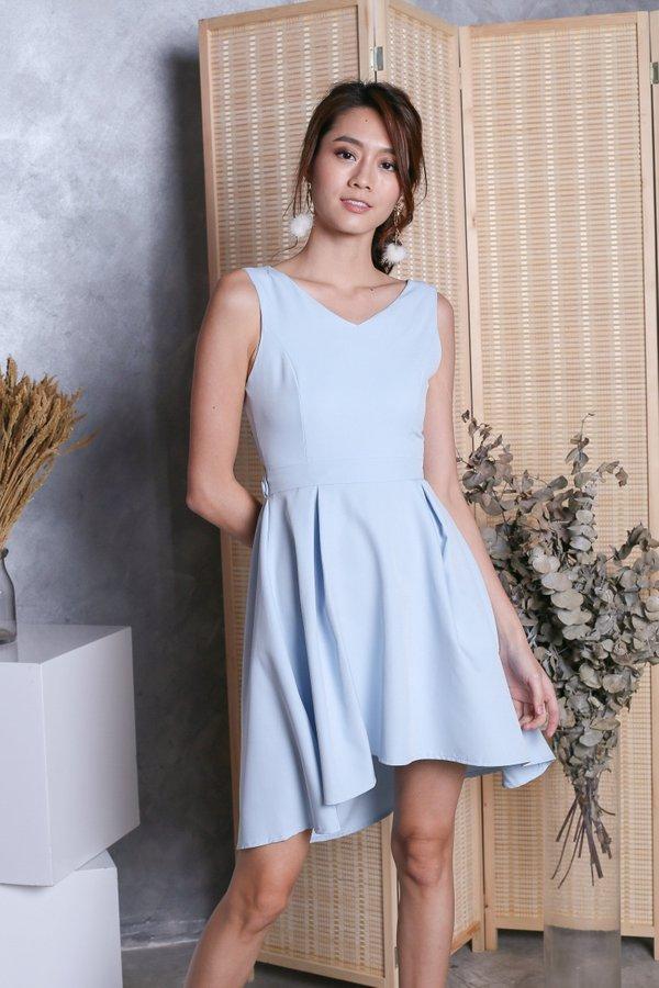 *TOPAZ* (PREMIUM) VAL RIBBON BACK DRESS IN BABY BLUE