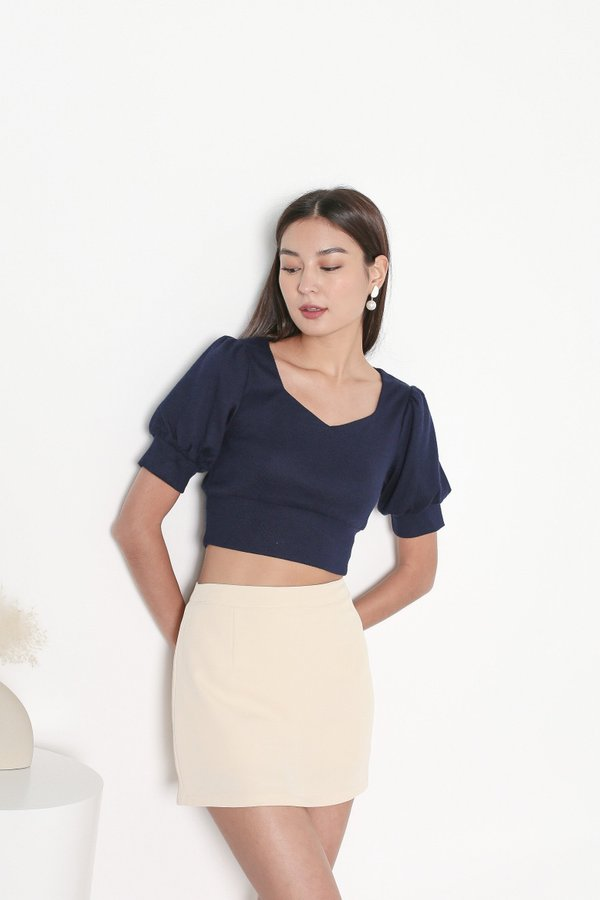 *TPZ* I KNIT YOU TOP IN NAVY