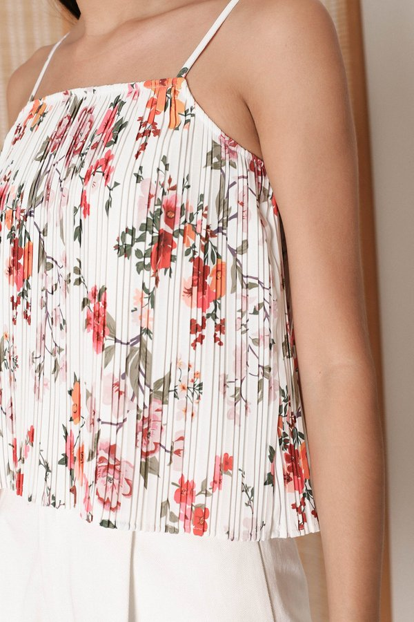 *TPZ* ODETTE PLEATED FLORAL SPAG TOP IN WHITE