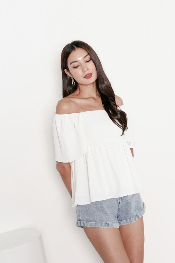 *TPZ* FLUTTER HEARTS BABYDOLL TOP IN WHITE