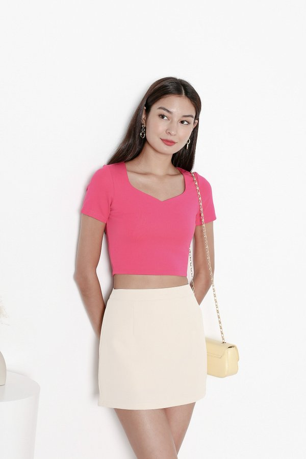*TPZ* MY SWEETHEART BASIC TOP IN BARBIE PINK