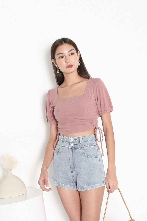 *TPZ* LEVEL UP TOP IN DUSTY ROSE *WITH SCRUNCHIE*