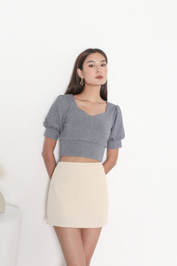 *TPZ* I KNIT YOU TOP IN GREY