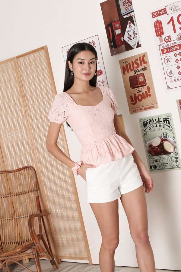 *TPZ* ALEAH EYELET PEPLUM TOP WITH SCRUNCHIE IN PINK