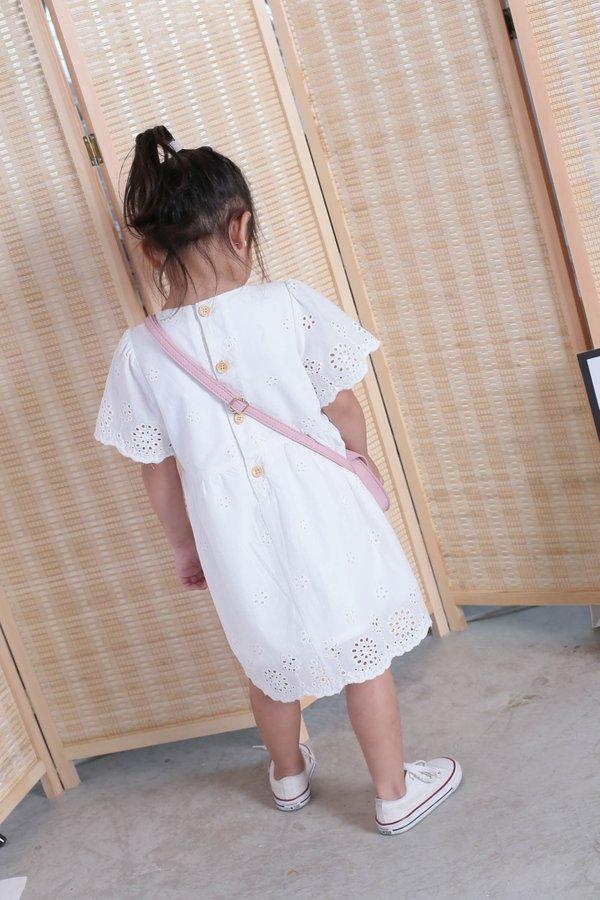 *LITTLE TOPAZETTE* HALLY EYELET DRESS IN WHITE