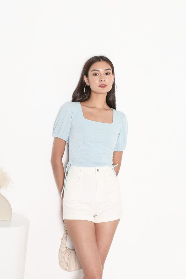 *TPZ* LEVEL UP TOP IN BABY BLUE *WITH SCRUNCHIE*