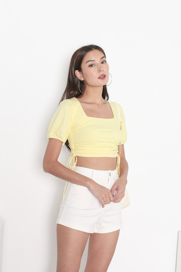 *TPZ* LEVEL UP TOP IN BUTTERMILK YELLOW *WITH SCRUNCHIE*