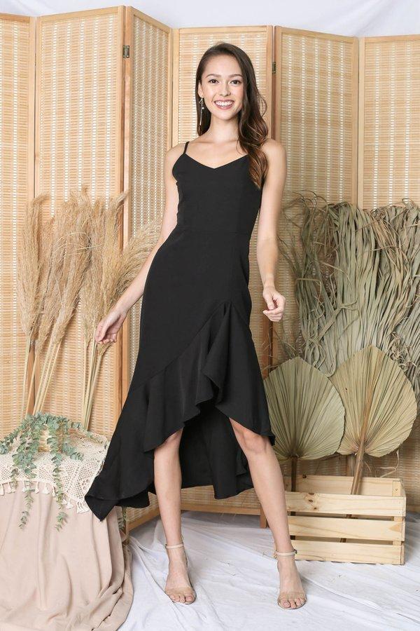 *TPZ* (PREMIUM) RIVERIA RUFFLES DRESS IN BLACK