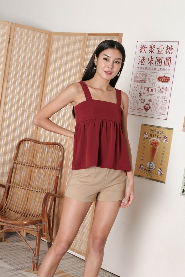 *TPZ* IVETTE BABYDOLL TOP IN WINE RED