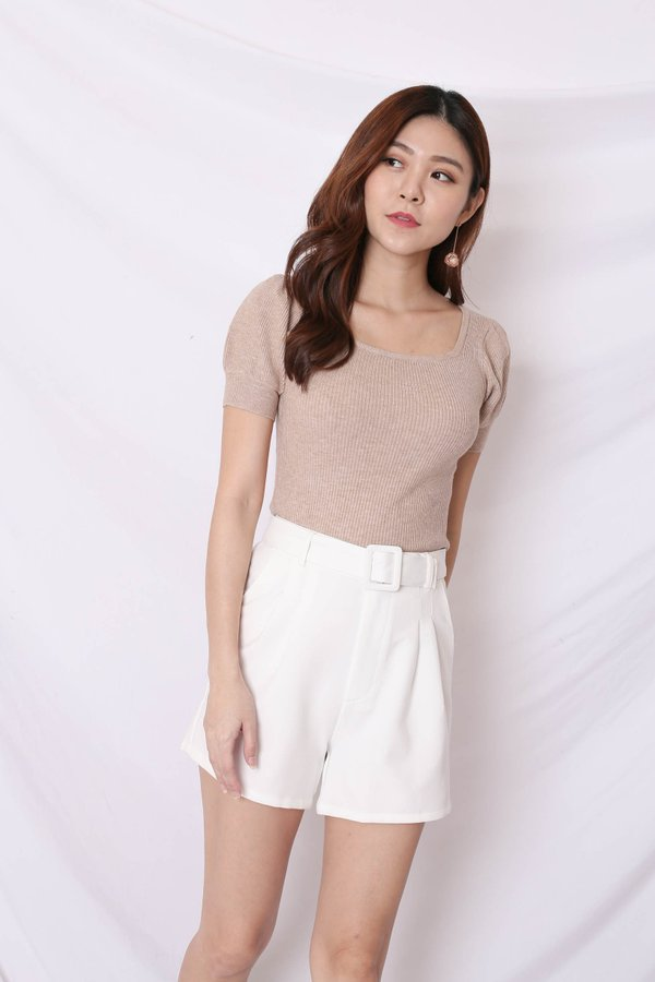*TPZ* (PREMIUM) BREDA EVERY DAY HIGH WAISTED SHORTS IN WHITE