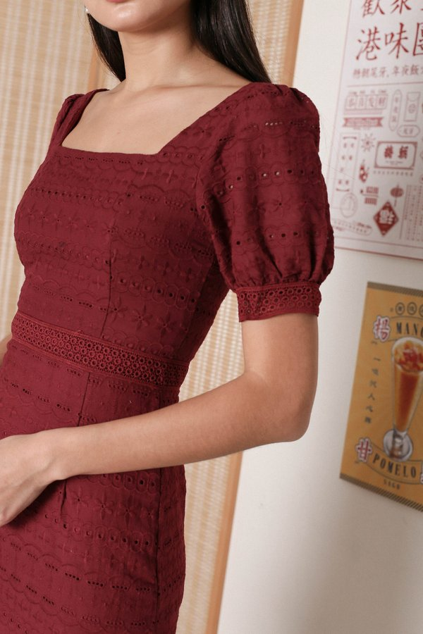 *TPZ* POLLY SQUARE NECK EYELET DRESS IN WINE RED