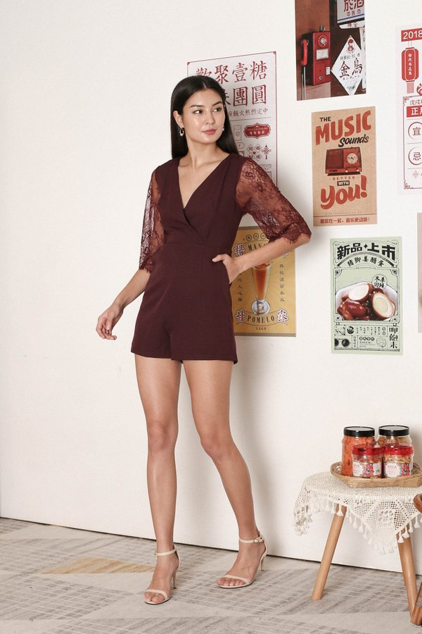 *TPZ* SHERYL LACE SLEEVES ROMPER IN PLUM