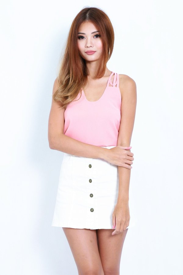 *TOPAZ* ALL IN THE DETAILS TOP IN PEACH