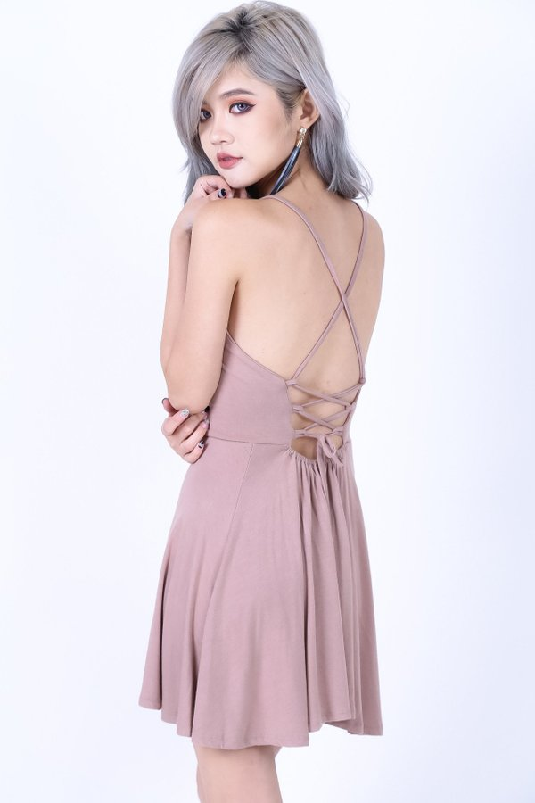 *RESTOCKED* LACED CROSS BACK DRESS IN TAUPE