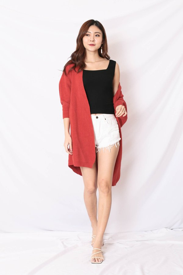 BEA COSY SOFT KNIT CARDIGAN IN BRICK RED