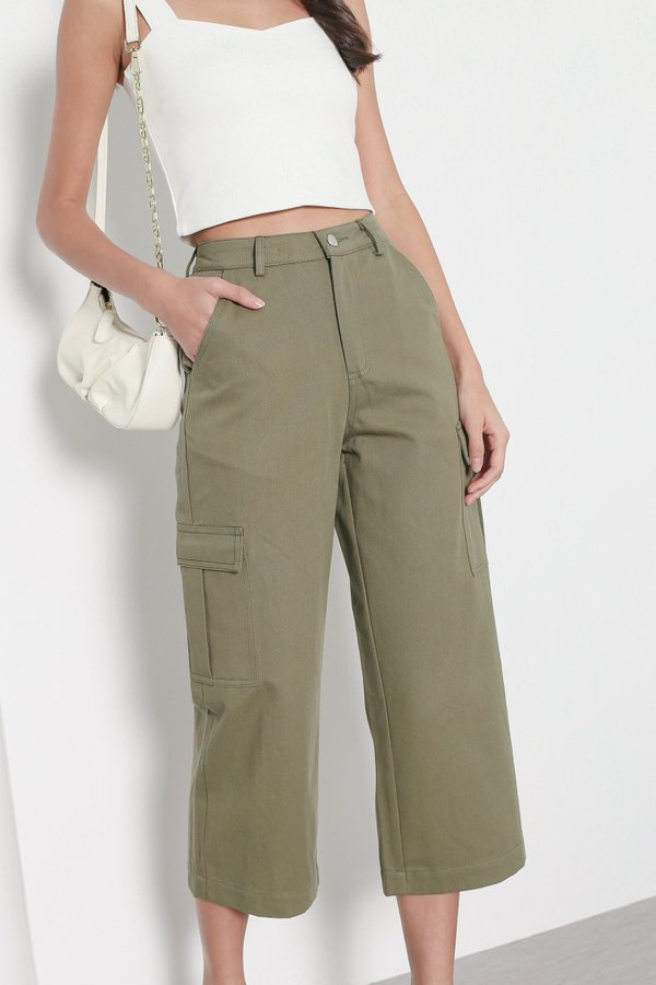 *TPZ* WIDE LEG CARGO PANTS IN OLIVE