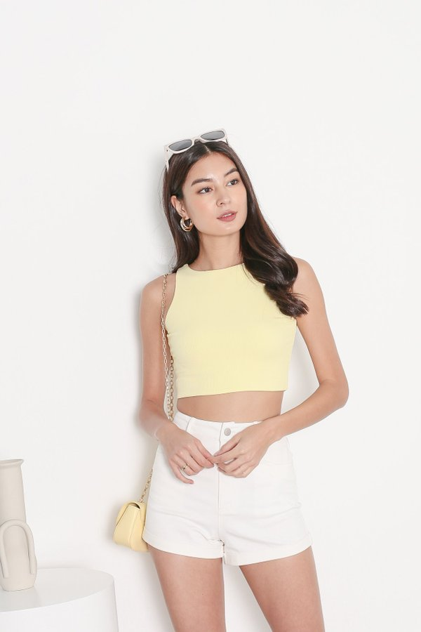 *TPZ* DUALITY 2 WAYS RACER TOP IN BUTTERMILK YELLOW *WITH SCRUNCHIE*