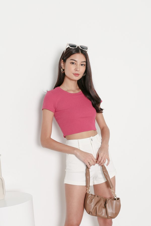 *TPZ* ESSENTIAL CREW NECK BASIC TOP IN BARBIE PINK