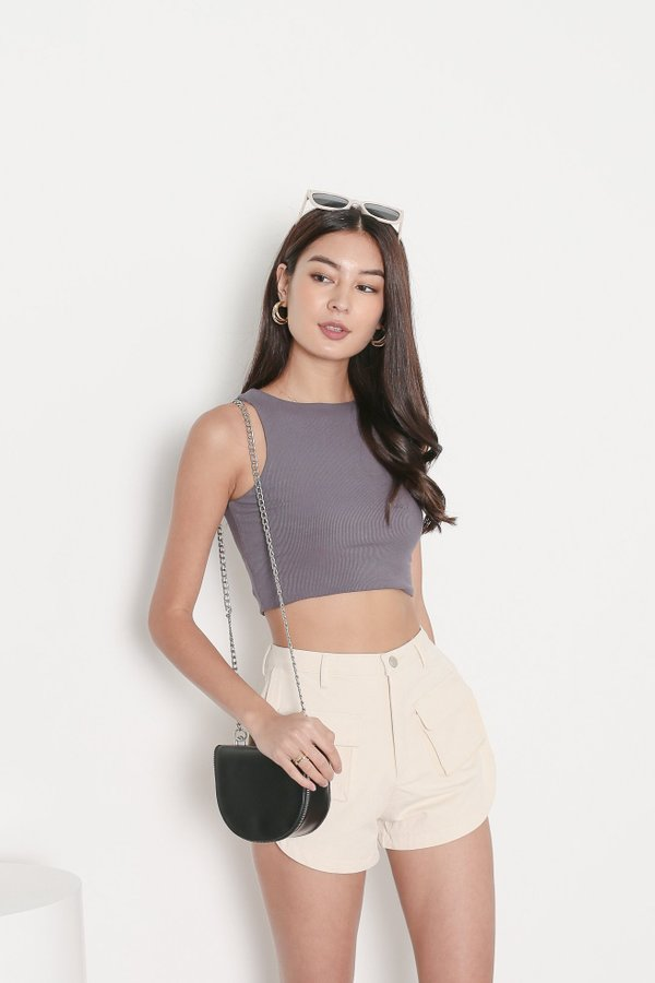 *TPZ* DUALITY 2 WAYS RACER TOP IN GUNMETAL *WITH SCRUNCHIE*