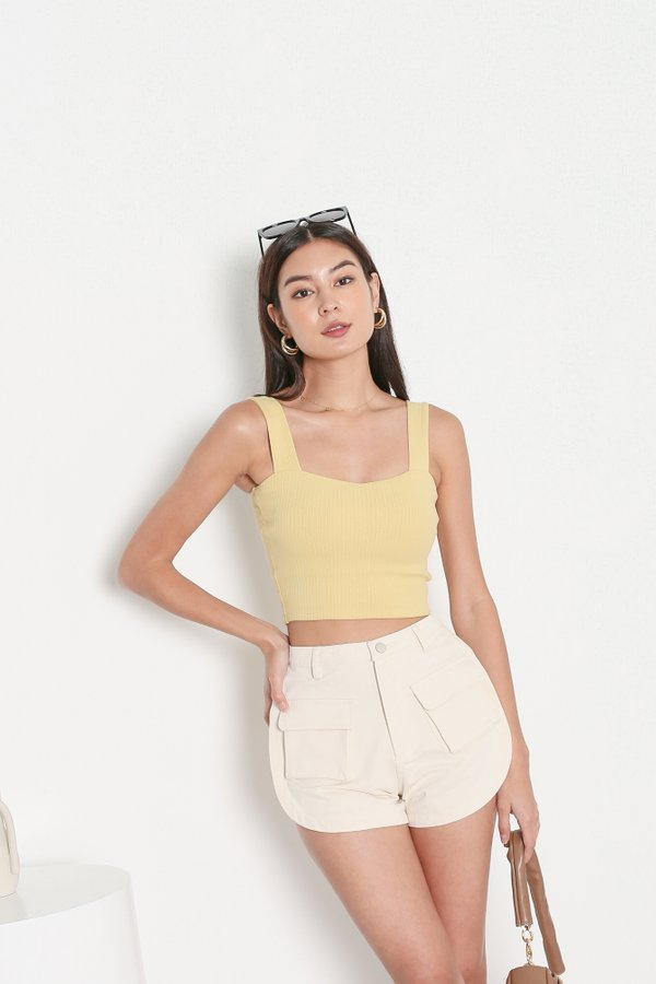 *TPZ* FIRST EVER PADDED RIBBED TOP IN FLAX YELLOW