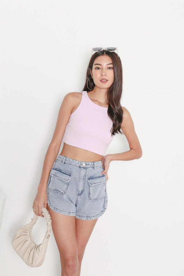 *TPZ* DUALITY 2 WAYS RACER TOP IN PASTEL LAVENDER *WITH SCRUNCHIE*