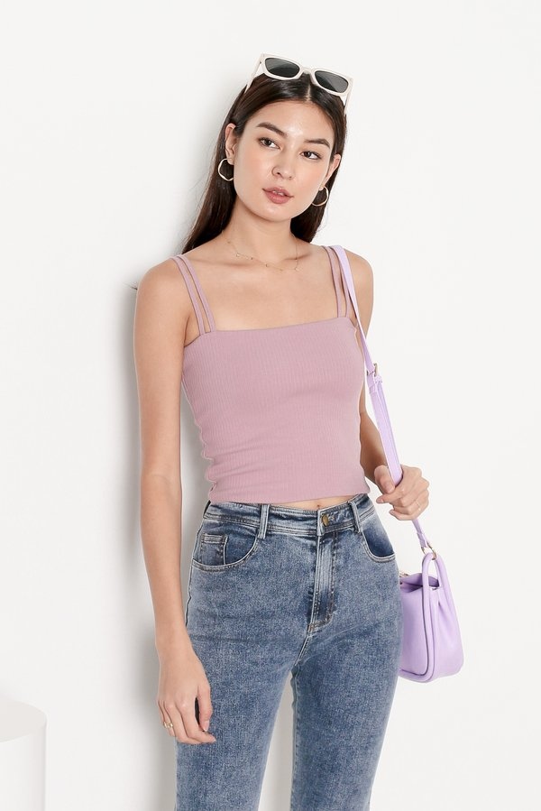 *TPZ* ZONIA 2 WAY TOP IN MUTED LILAC *WITH SCRUNCHIE*