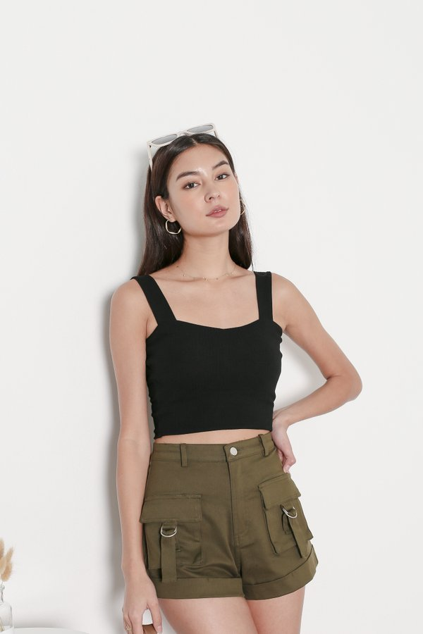 *TPZ* FIRST EVER PADDED RIBBED TOP IN BLACK