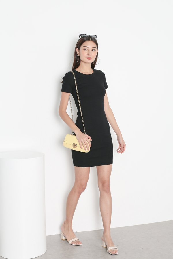 *TPZ* IN REALITY RIBBED KNIT DRESS IN BLACK
