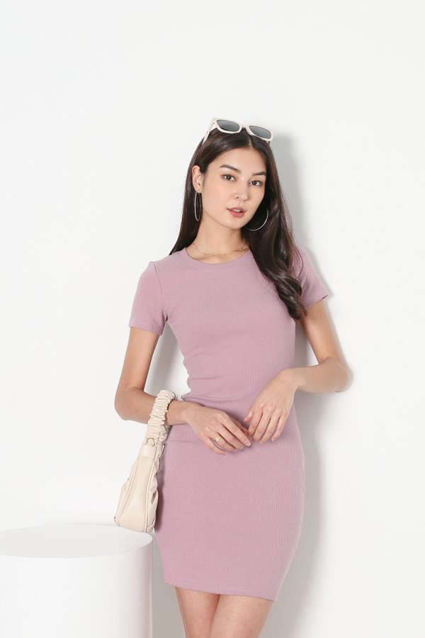 *TPZ* IN REALITY RIBBED KNIT DRESS IN MUTED LILAC