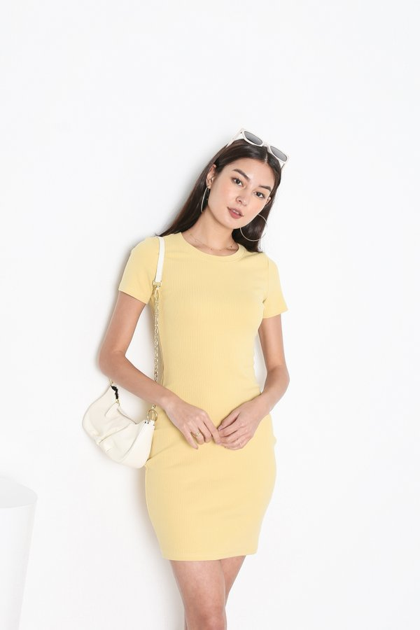 *TPZ* IN REALITY RIBBED KNIT DRESS IN FLAX YELLOW