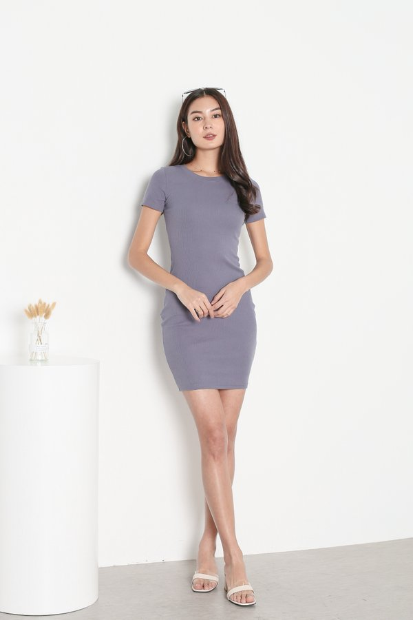*TPZ* IN REALITY RIBBED KNIT DRESS IN GRAPHITE GREY