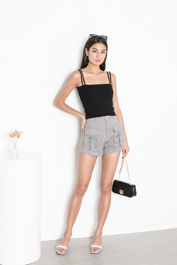 *TPZ* ZONIA 2 WAY TOP IN BLACK *WITH SCRUNCHIE*