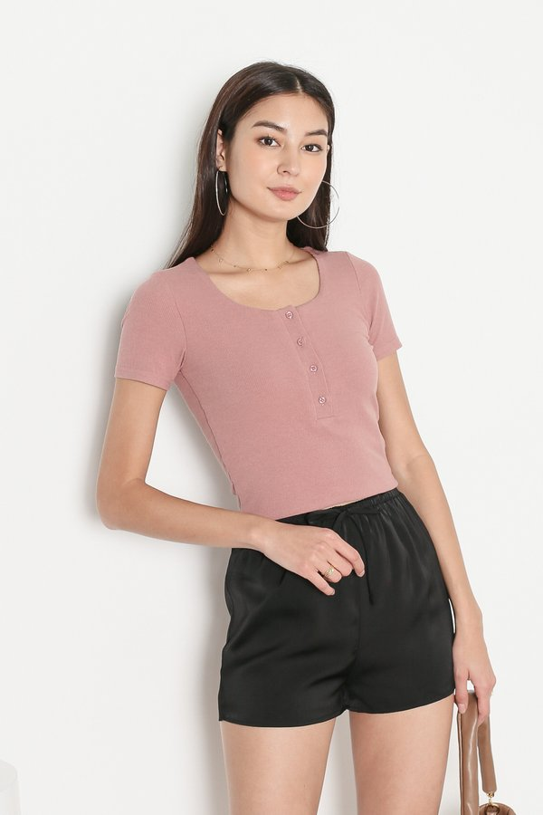 *TPZ* TAKE IT EASY RIBBED TOP IN DUSTY ROSE *WITH SCRUNCHIE*