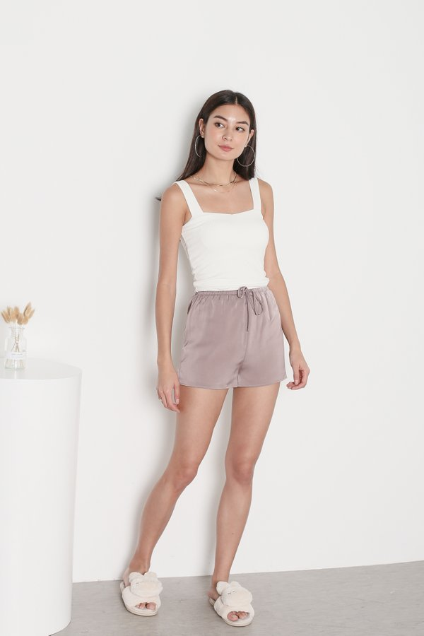 *TPZ* AVERY SATIN LOUNGE SHORTS IN MAUVE