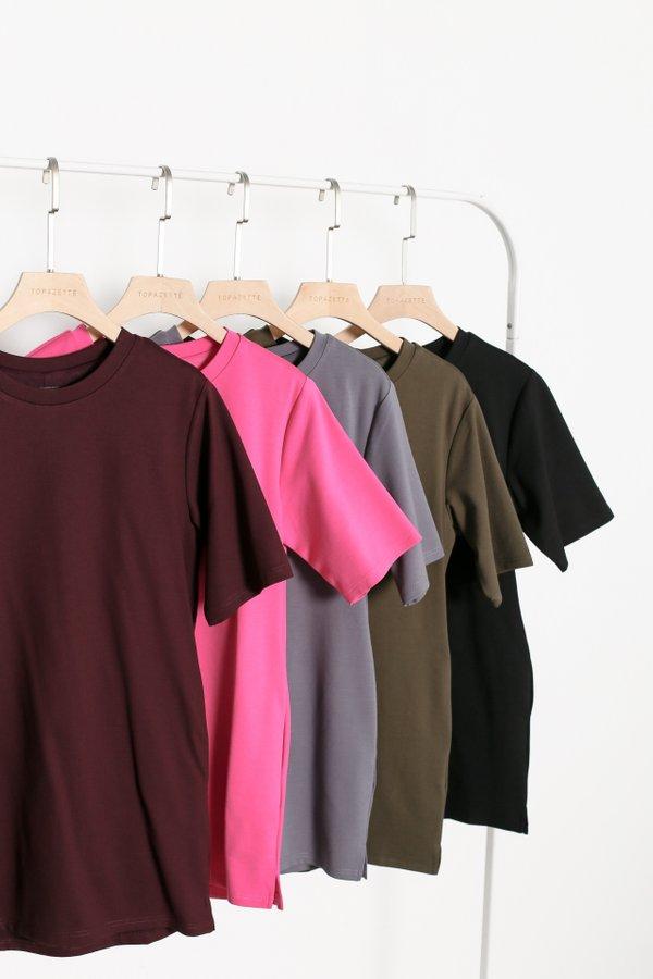 *TPZ* REVERIE T SHIRT DRESS BUNDLE OF 5 (BARBIE PINK, BLACK, GUNMETAL, OLIVE, BURGUNDY)