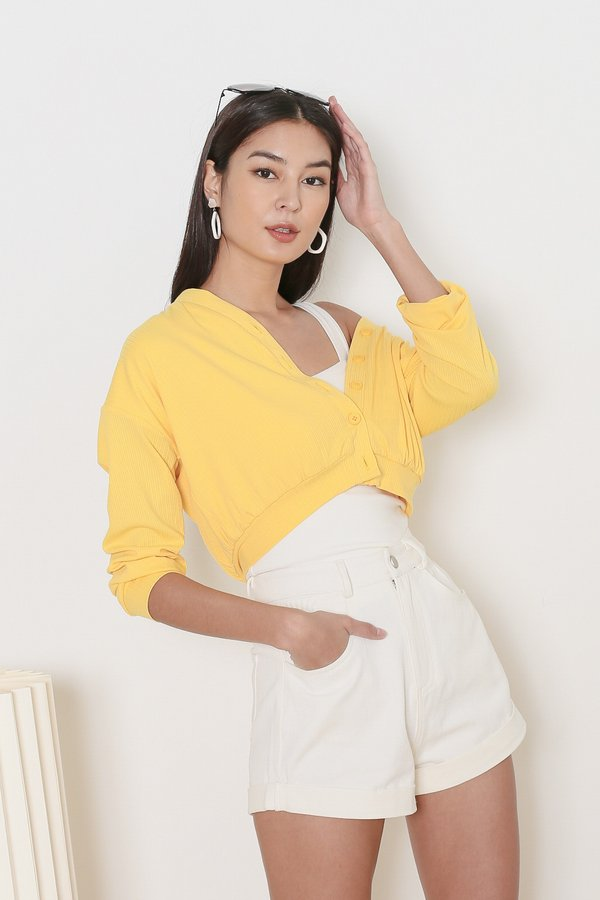 *TPZ* WANDERLUST RIBBED CARDIGAN IN BUTTERCUP YELLOW