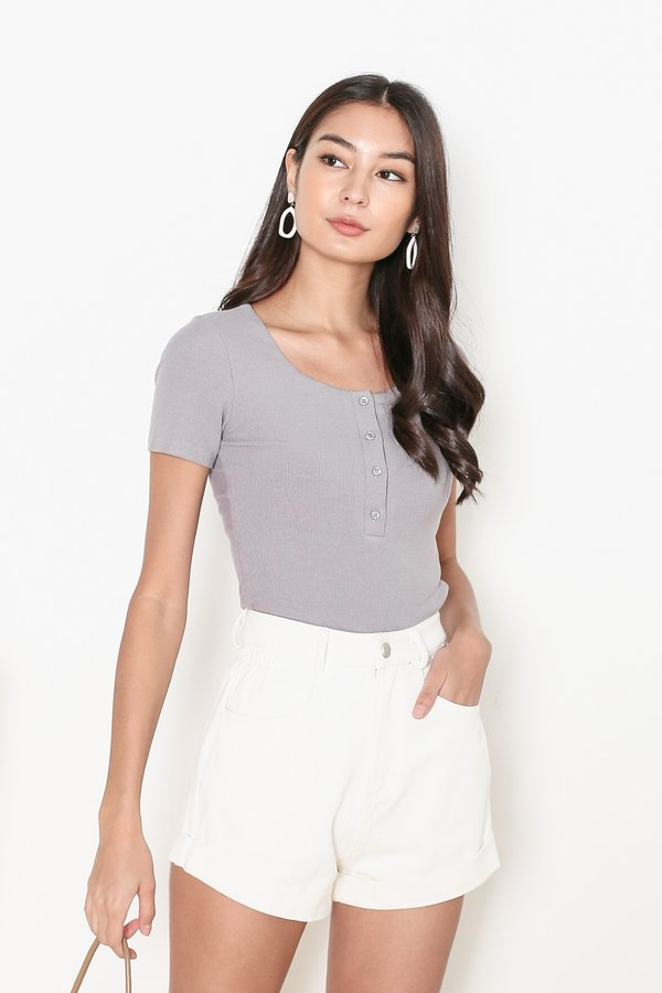 *TPZ* TAKE IT EASY RIBBED TOP IN SPACE GREY *WITH SCRUNCHIE*