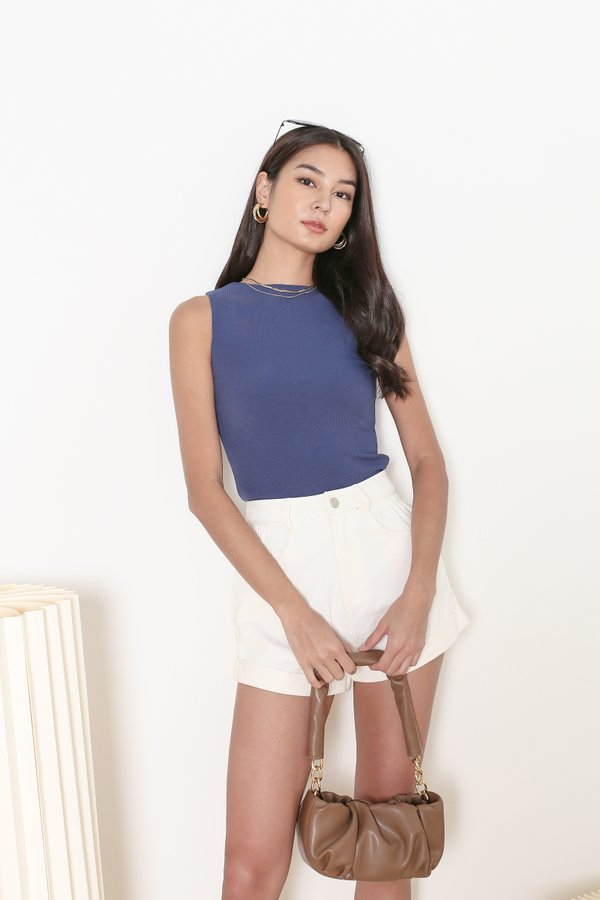 *TPZ* ALL DAY RIBBED BASIC TOP IN AZURE BLUE  *WITH SCRUNCHIE*